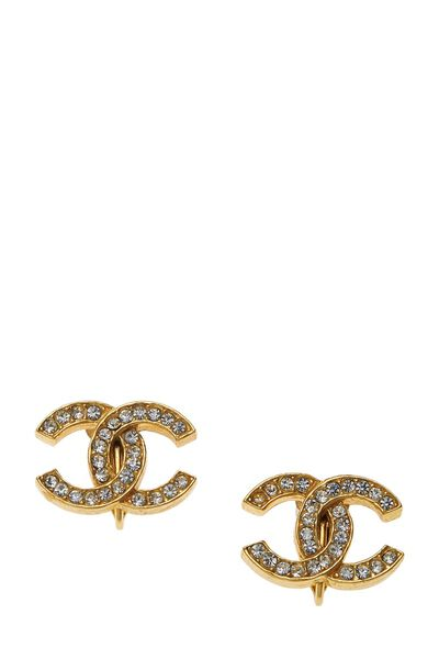 Gold & Crystal 'CC' Earrings Small