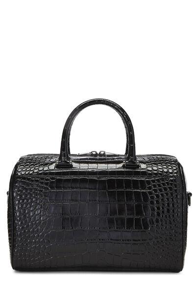 Black Embossed Leather Convertible Boston Bag
