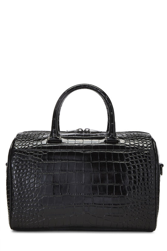 Black Embossed Leather Convertible Boston Bag, , large image number 0