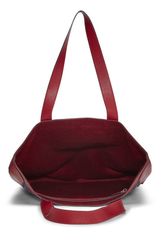 Red Leather & Canvas Sylvie Baiadera Tote, , large image number 5