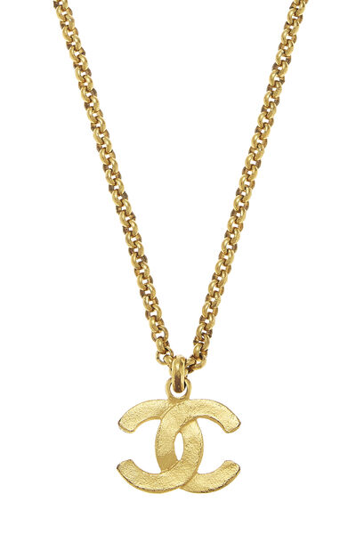 Gold Textured 'CC' Necklace, , large