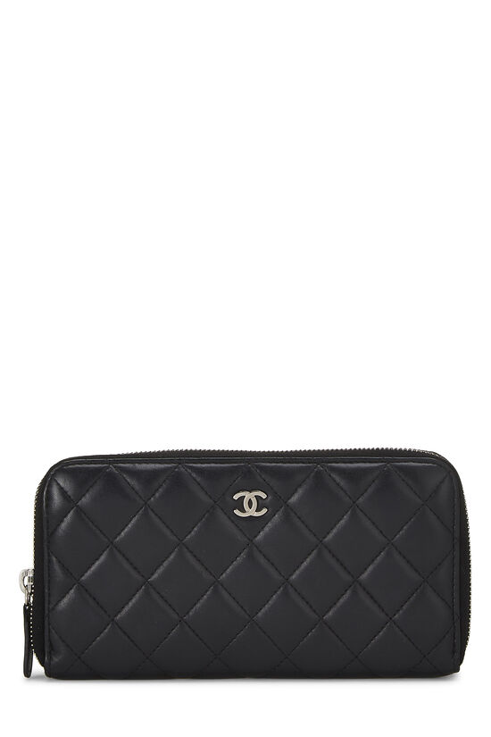 Black Quilted Lambskin Zip Wallet, , large image number 0