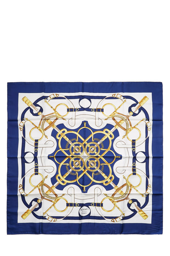 Navy & Multicolor 'Eperon d'Or' Silk Scarf 90, , large image number 0