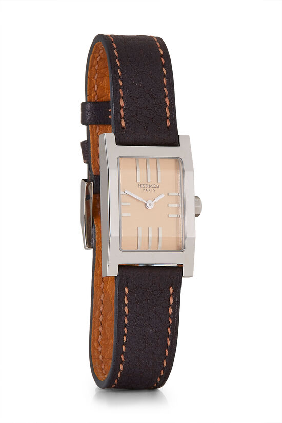 Brown Leather & Stainless Steel Tandem Watch, , large image number 0