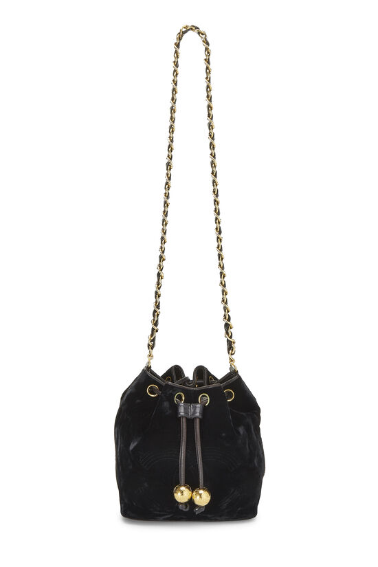 Black Velvet Bucket Bag Small, , large image number 6