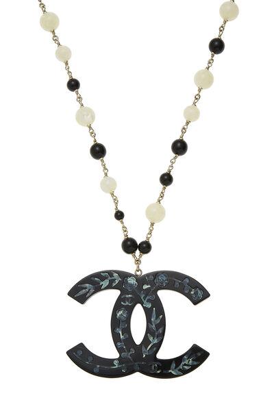 Black & White Acrylic Beaded 'CC' Necklace, , large