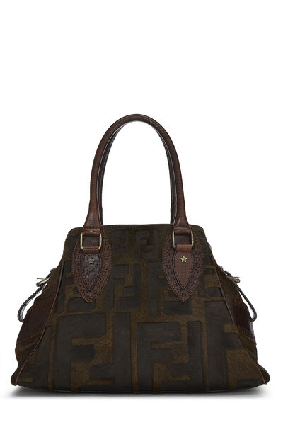 Brown Zucca Pony Hair Bag Du Jour Small