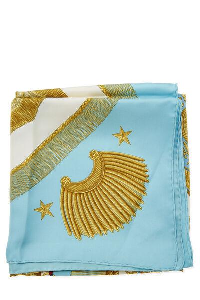 Blue & Multicolor 'Poste et Cavalerie' Silk Scarf 90, , large