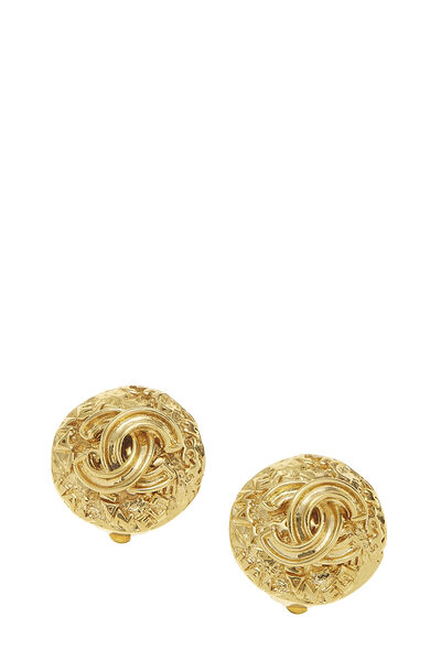 Gold 'CC' Engraved Earrings