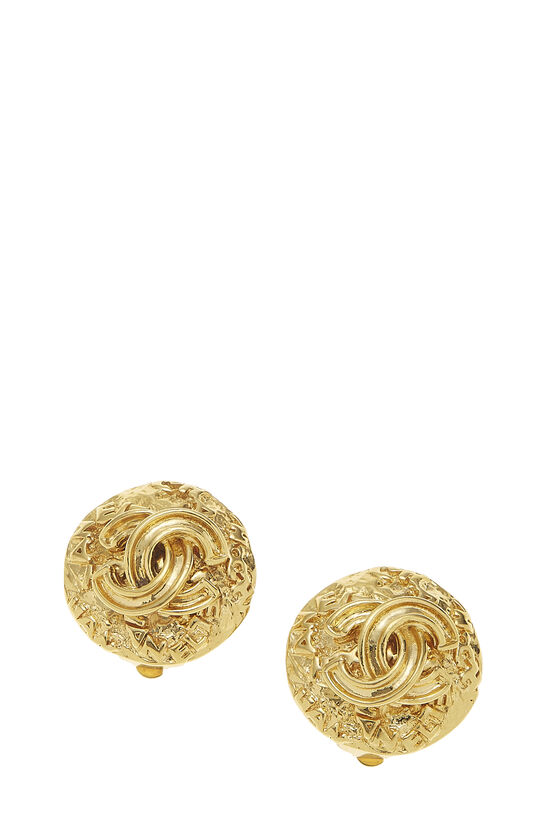 Gold 'CC' Engraved Earrings, , large image number 0
