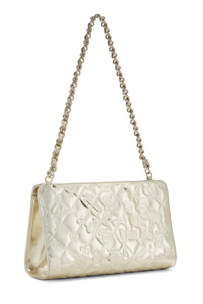Gold Patent Leather Lucky Charms Shoulder Bag Small, , large