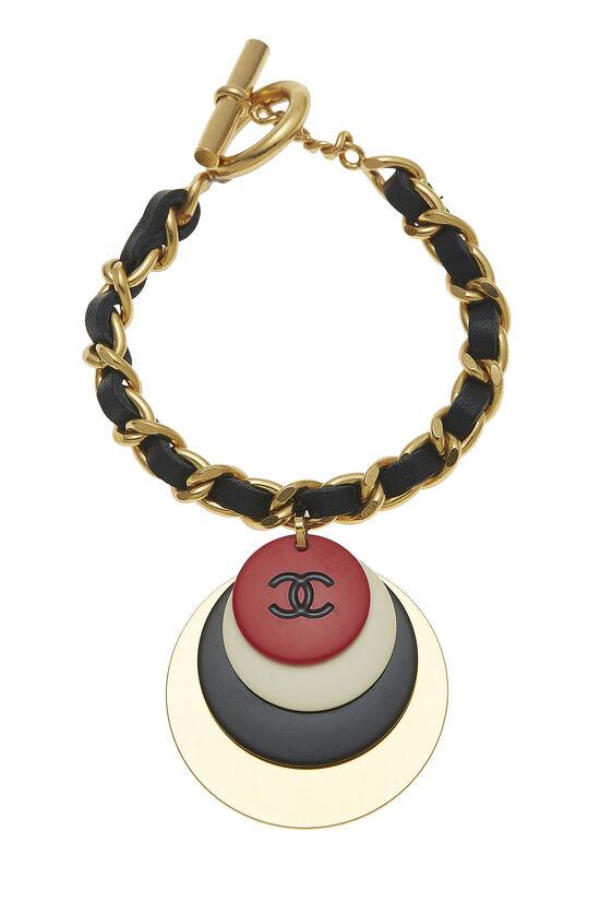 Gold & Black Leather Chain Bracelet, , large image number 0