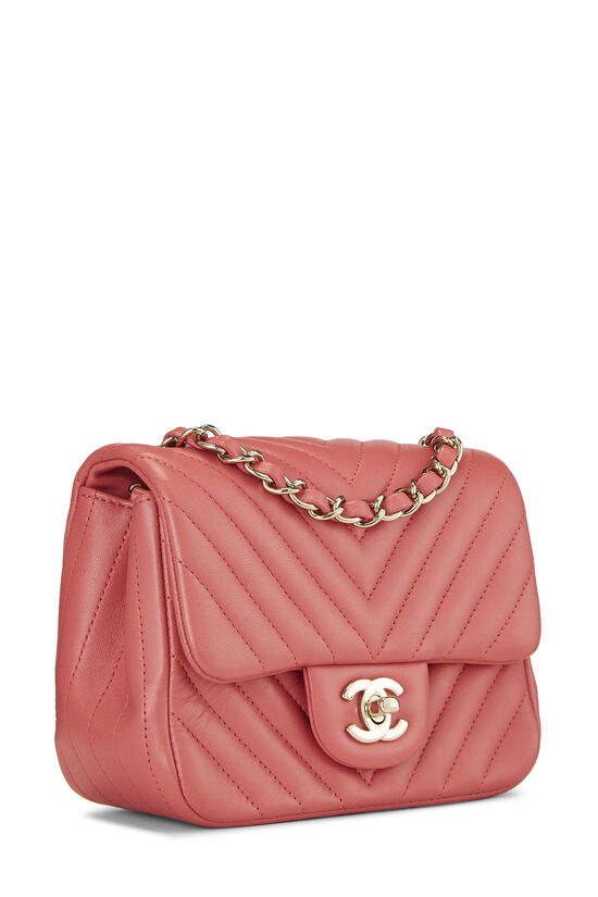 Pink Chevron Lambskin Classic Square Flap Mini, , large image number 1