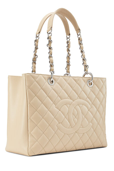 Beige Quilted Caviar Grand Shopping Tote (GST), , large