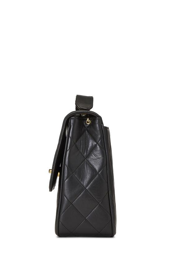 Black Quilted Lambskin 'CC' Square Shoulder Bag, , large image number 3