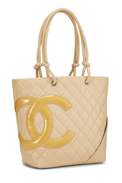 Beige Quilted Calfskin Cambon Ligne Tote Small, , large