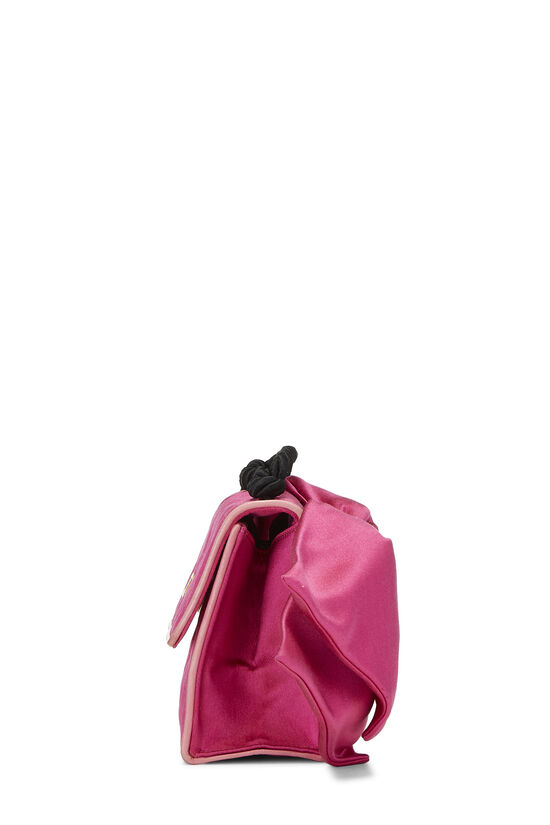 Pink Quilted Satin Bow Bag, , large image number 3