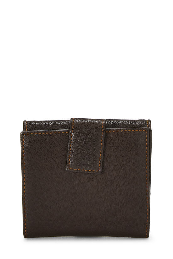 Brown Leather Logo Compact Wallet, , large image number 2