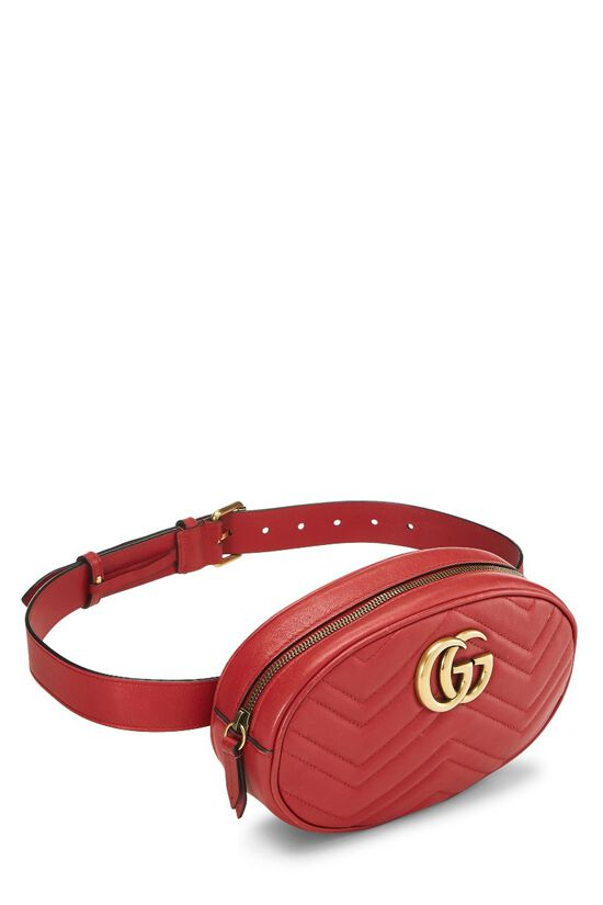 Red Leather Chevron GG Marmont Belt Bag, , large image number 1