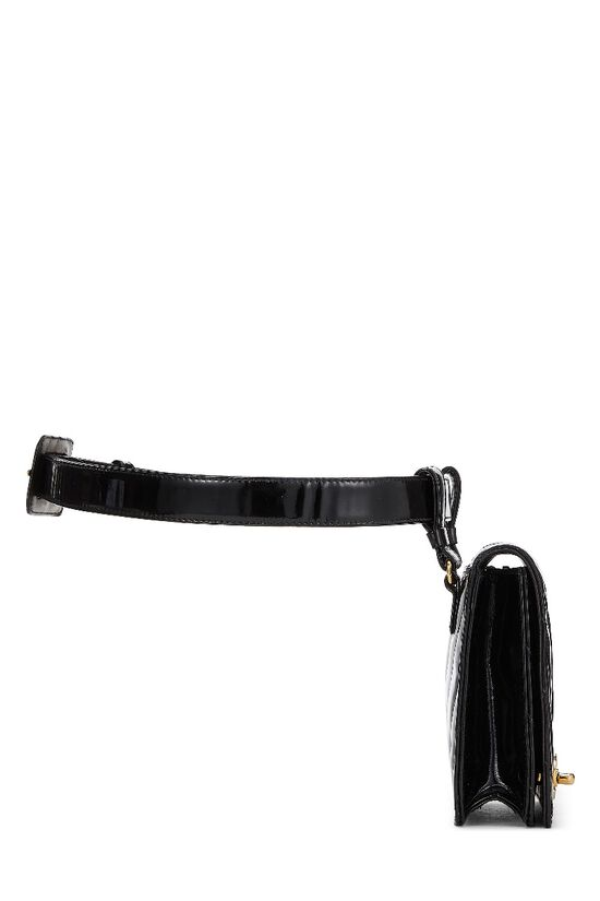 Black Chevron Patent Leather Belt Bag, , large image number 2