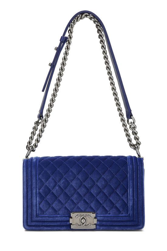 Blue Quilted Velvet Boy Bag Medium, , large image number 6