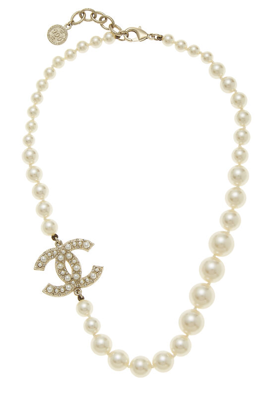 Faux Pearl & Gold 'CC' Choker, , large image number 0
