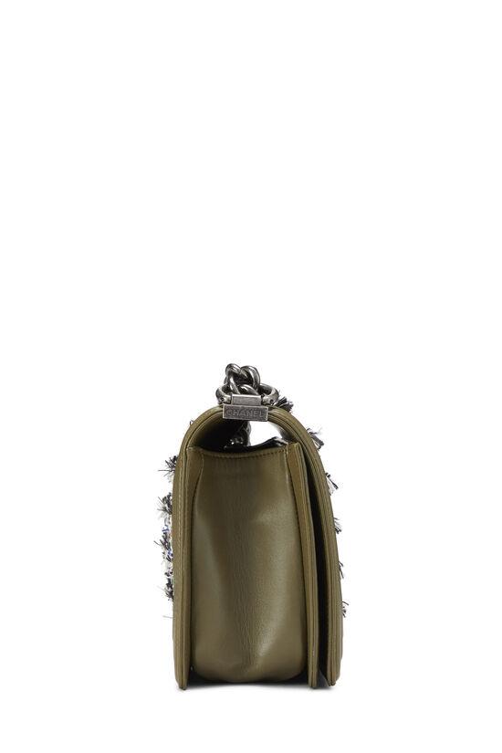 Green Leather & Bouclé Boy Bag Medium, , large image number 3
