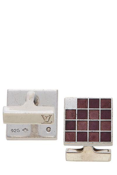 Silver & Purple Grid Cufflinks, , large