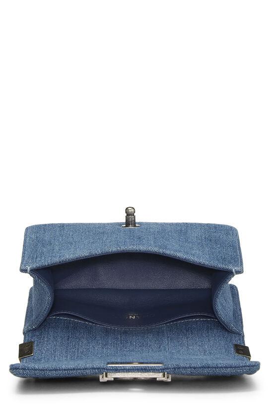 Blue Quilted Denim Boy Bag Small, , large image number 6