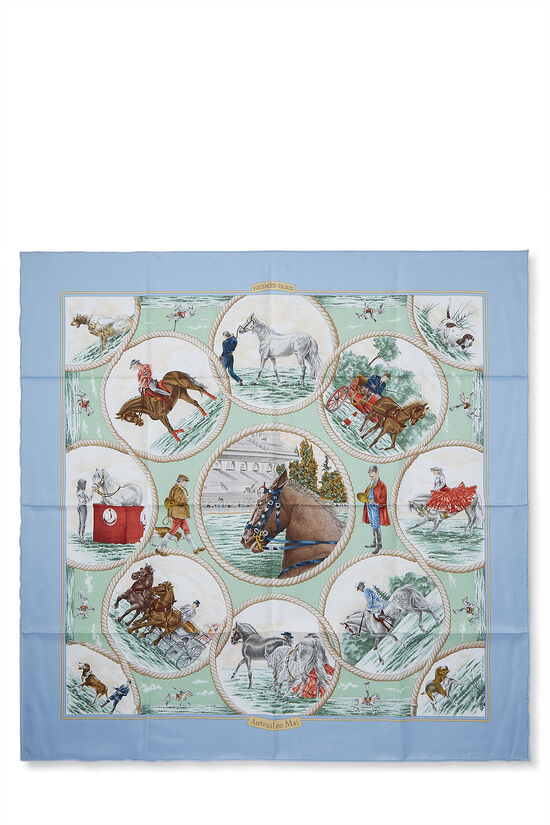 Blue & Multicolor 'Auteuil en Mai' Silk Scarf 90, , large image number 0