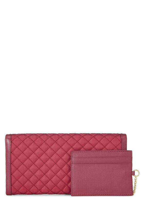 Pink Quilted Tessuto Long Wallet, , large image number 2