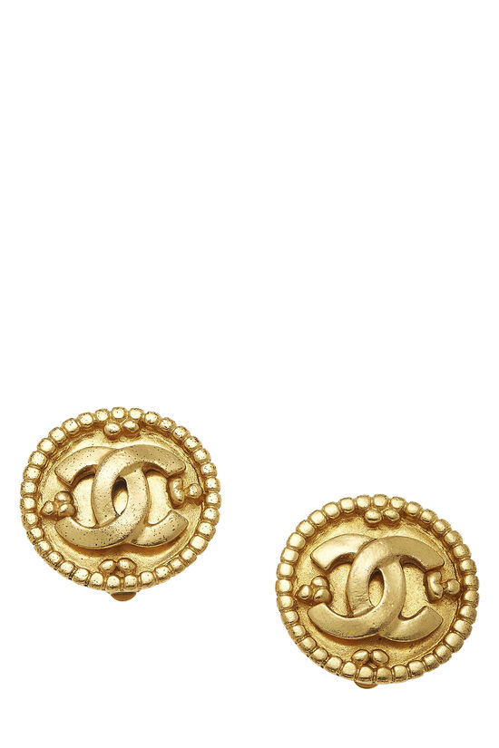 Gold Border 'CC' Round Earrings, , large image number 0