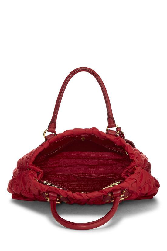Red Nappa Gaufre Shoulder Bag, , large image number 5