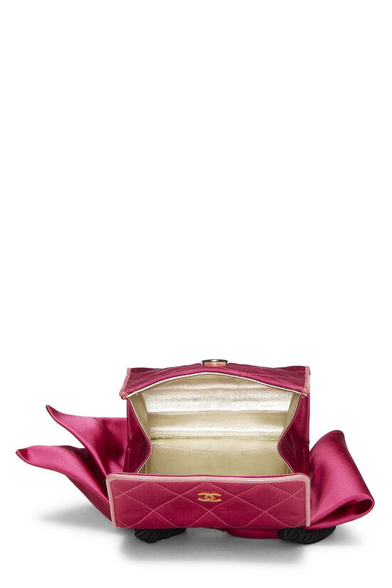Pink Quilted Satin Bow Bag, , large image number 6