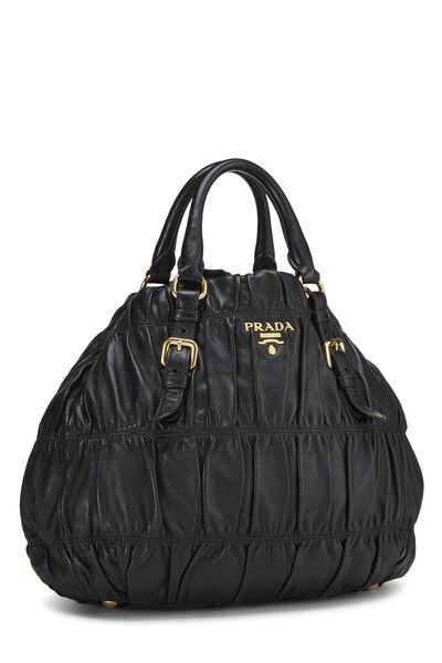 Black Nappa Gaufre Handbag, , large