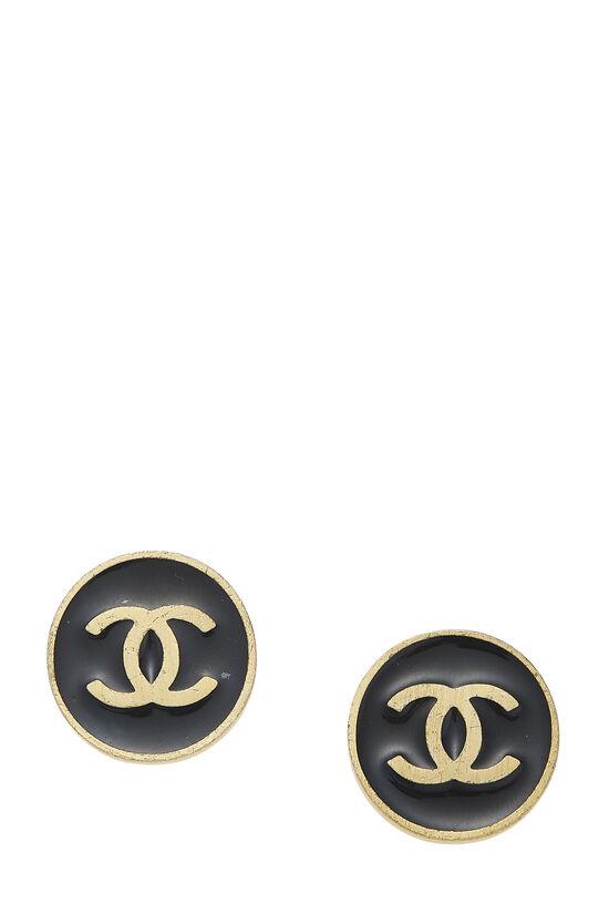 Gold & Black Enamel 'CC' Round Earrings, , large image number 0