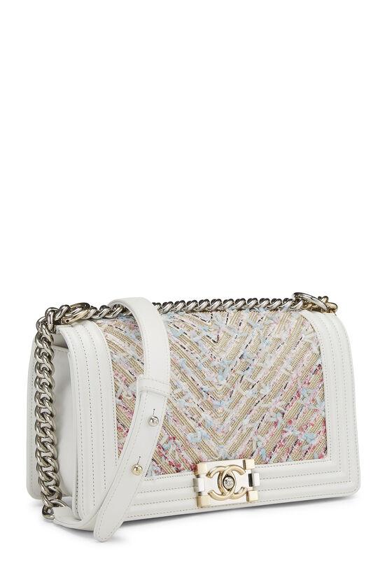 White & Multicolor Tweed Chevron Chain Boy Bag Medium, , large image number 2