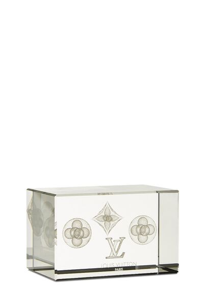Clear Glass Monogram Paperweight, , large