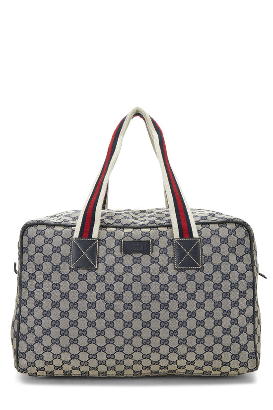 Navy GG Canvas Carry On Duffle Large, , large image number 0