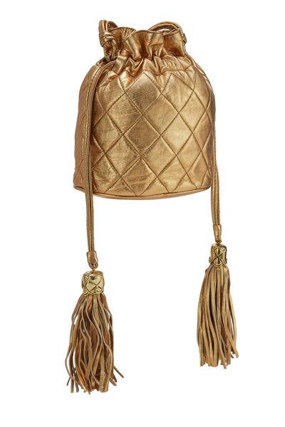 Metallic Copper Quilted Lambskin Bucket Bag Mini