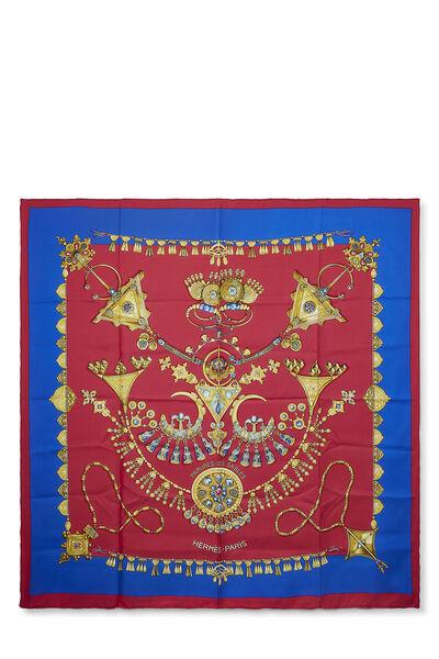 Red & Multicolor 'Parures des Sables' Silk Scarf 90