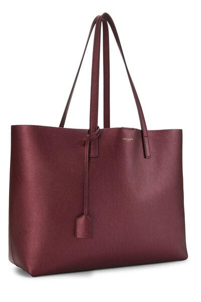 Metallic Burgundy Leather Shopping Bag East/West, , large