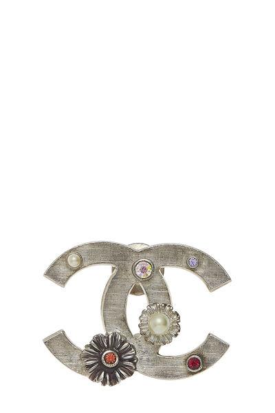 Silver Crystal & Flower 'CC' Pin