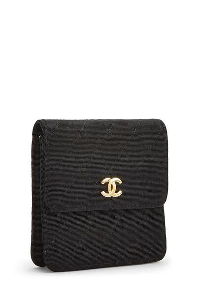 Black Quilted Silk Faille Belt Bag, , large