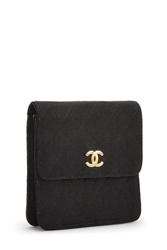 Black Quilted Silk Faille Belt Bag, , large image number 1