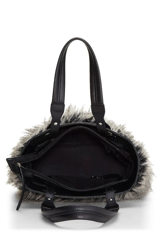 Black Leather & Fantasy Fur Paris Biarritz Tote, , large image number 5