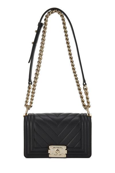 Black Chevron Lambskin Boy Bag Mini, , large