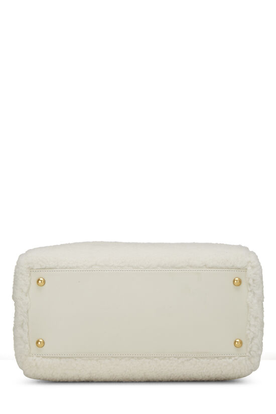 White Shearling Coco Bowling Bag, , large image number 4