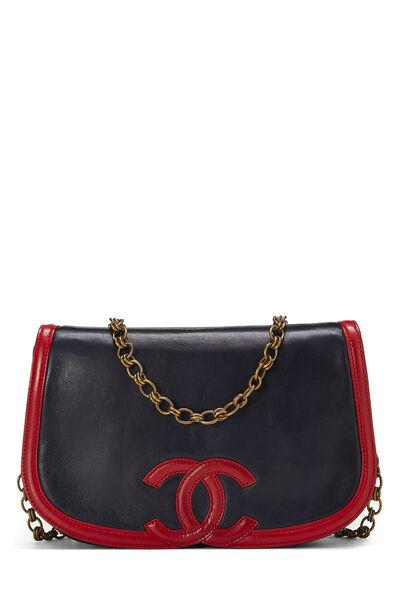 Navy & Red Lambskin 'CC' Shoulder Bag