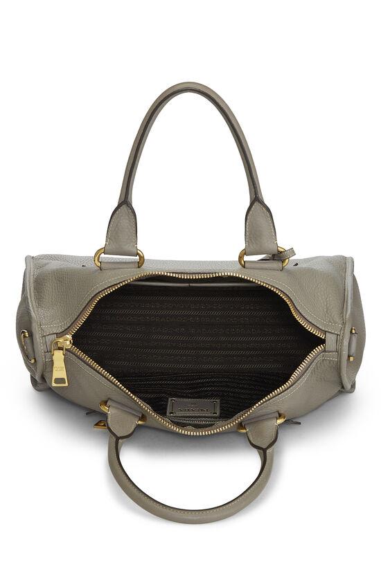 Grey Vitello Daino Boston Bag, , large image number 5